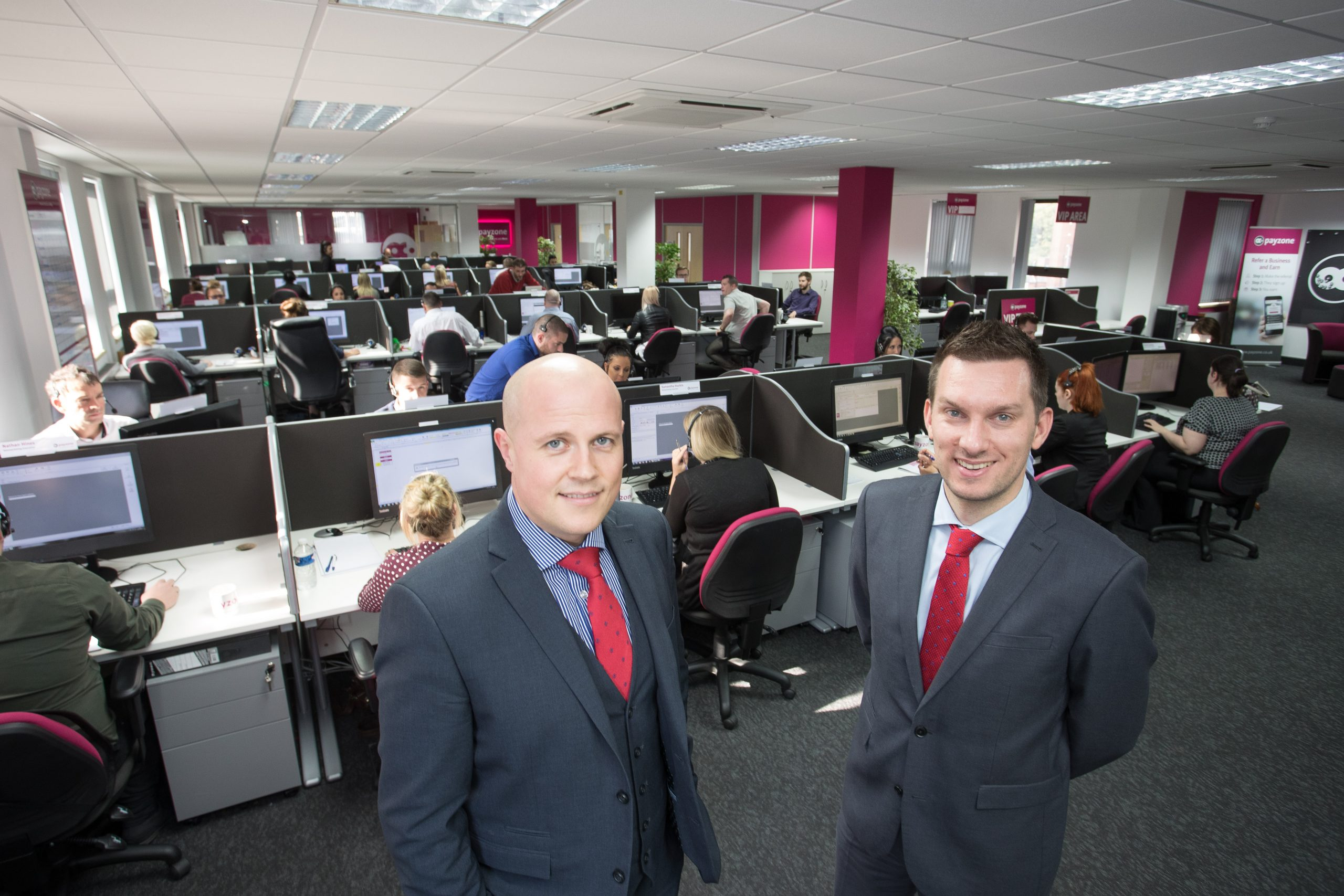Andrew McCann, head of contact centres at Payzone & Rhys Owen, Leasing Surveyor for Orbit Developments.